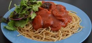 spaghetti met rookworst